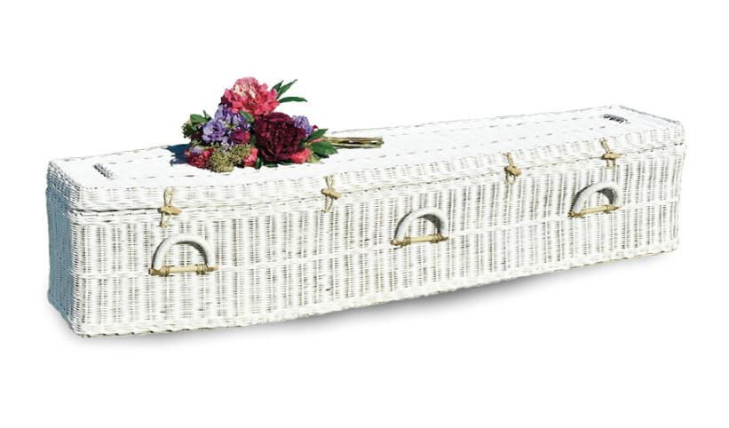 White Rattan Traditional Coffin