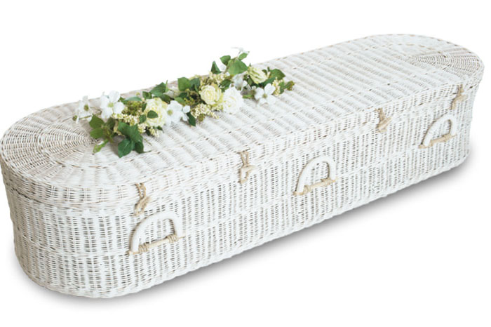 White Rattan Rounded Coffin